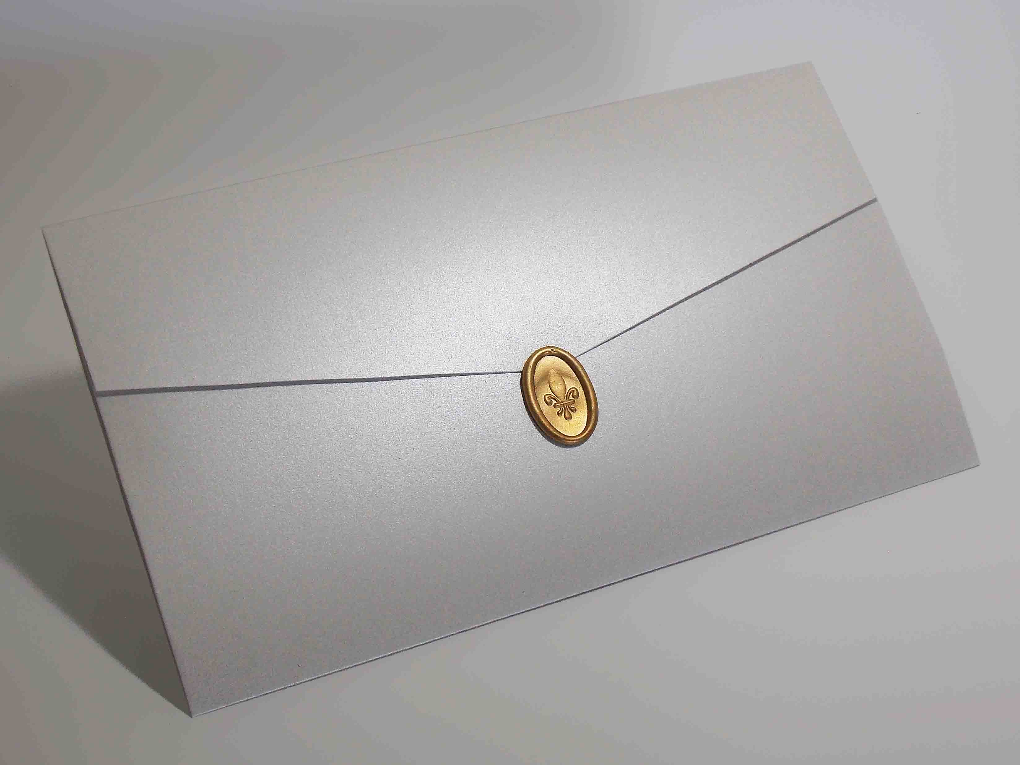 Convite de Casamento Envelope Bico com Lacre de Cera