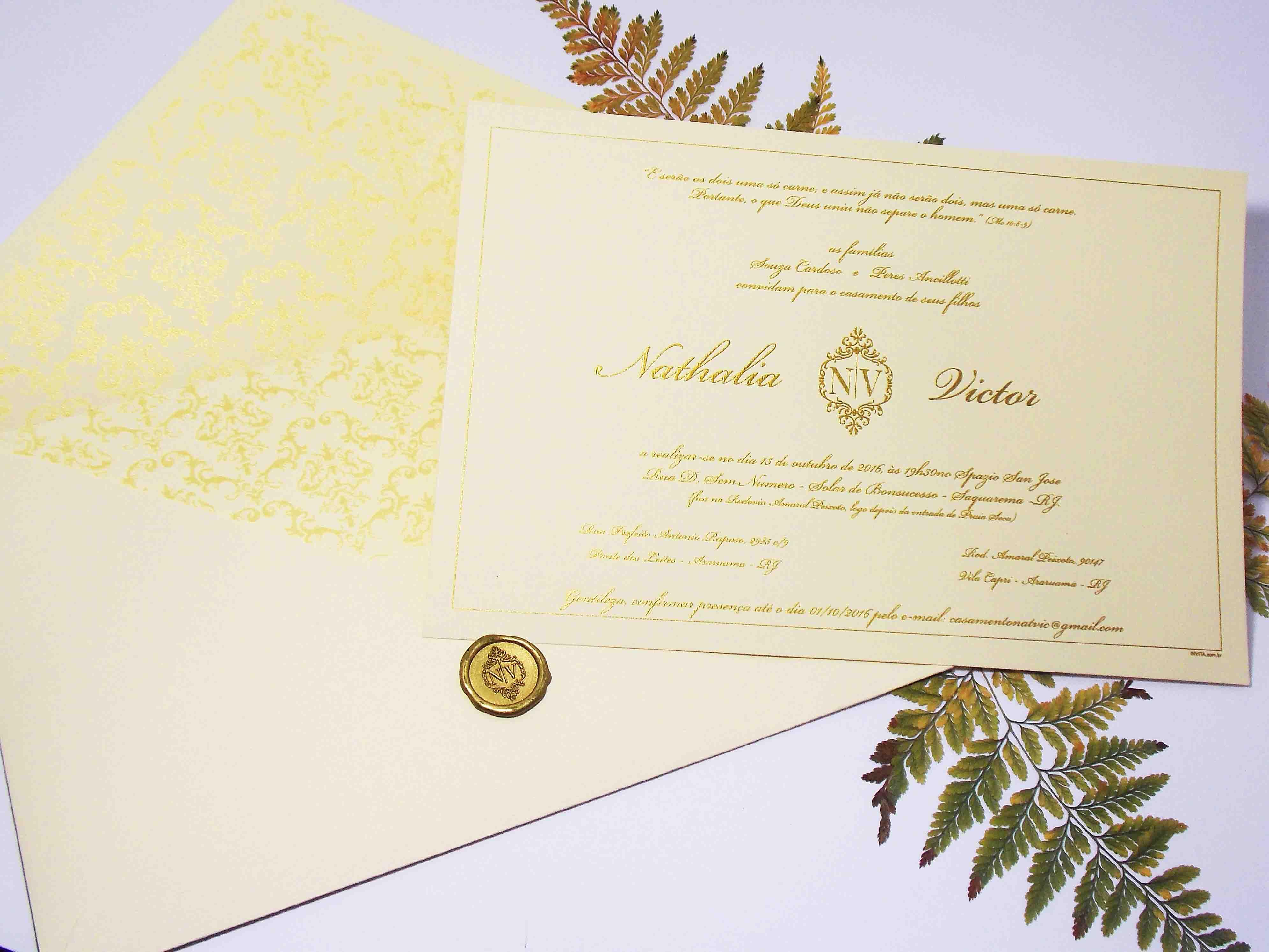 Convite de Casamento Marfim com Lacre de Cera
