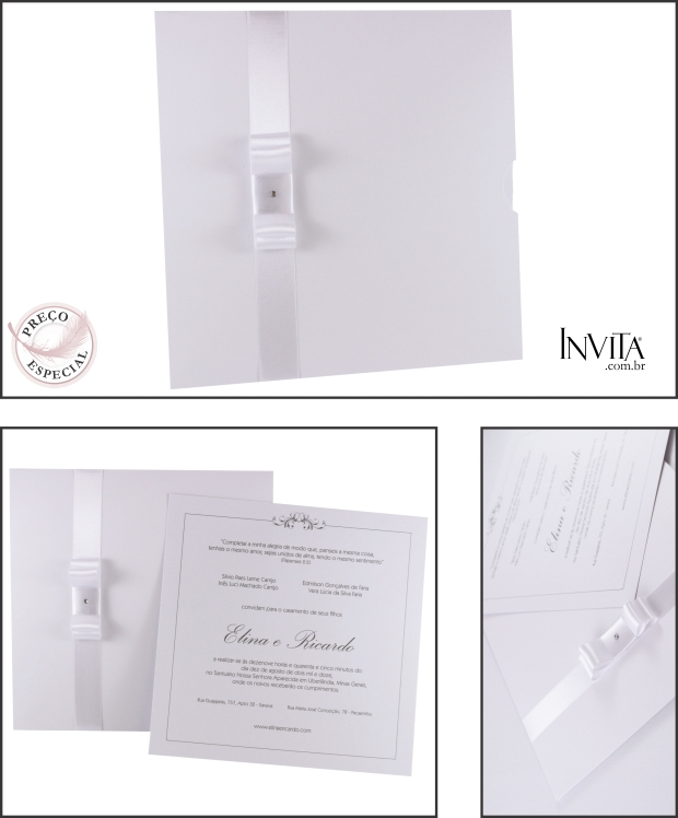 Convite de Casamento Envelope Luva