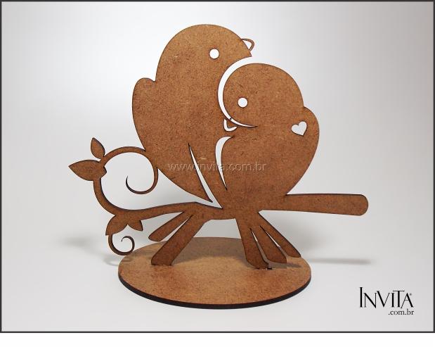 Topo de Bolo Pássaros Casamento